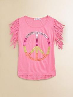 Flowers by Zoe - Girl's Fringed Peace-Sign Tee