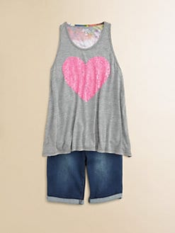 Flowers by Zoe - Girl's Sequined Heart Tank