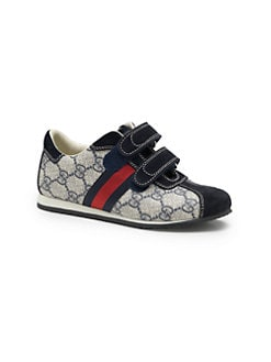 Gucci - Boy's Double Strap Fabric Sneakers