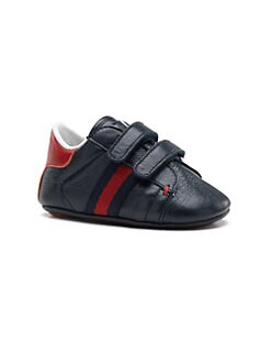 Gucci - Infant's Double Strap Leather Sneakers