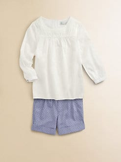 Little Paul & Joe - Girl's Cotton Crochet-Yoke Tunic