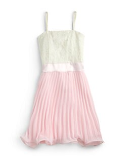 Un Deux Trois - Girl's Lace & Pleated Chiffon Dress
