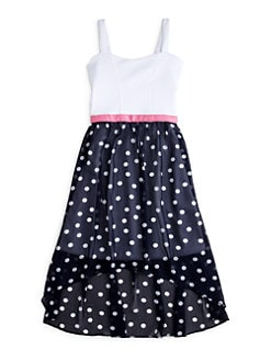 Sally Miller - Girl's Polka Dot Chiffon Hi-Lo Dress