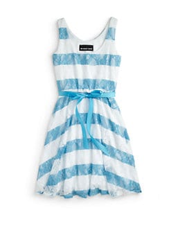 Un Deux Trois - Girl's Striped Lace Ice Skater Dress