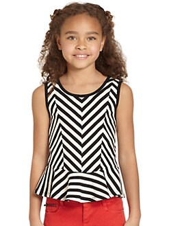 DKNY - Girl's Lorena Striped Peplum Top