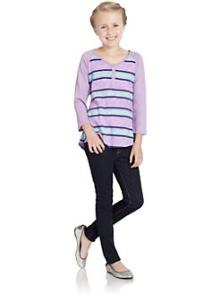 Splendid - Girl's Santorini Stripe Henley Top