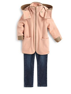 Chloe - Girl's Leather Trim Coat