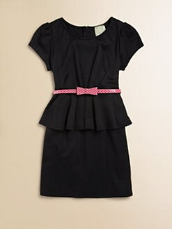 Kiddo - Girl's Belted Peplum Dress
