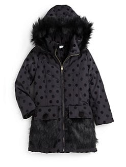 Little Marc Jacobs - Girl's Faux Fur Dot Jacket