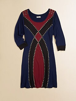 Sally Miller - Girl's Color-Block Studded Dress