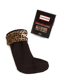 Hunter - Toddler's & Kid's Leopard-Print Cuffed Welly Sock