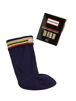 Hunter - Toddler's & Kid's Striped & Cuffed Welly Sock