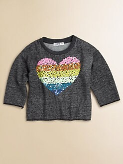 Flowers by Zoe - Girl's Sequined Heart Sweatshirt