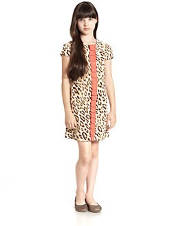 KC Parker by Hartstrings - Girl's Leopard Print Corduroy Shift Dress