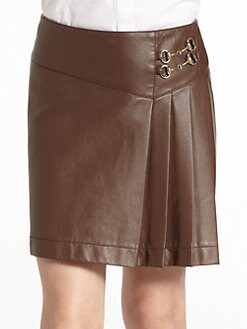 KC Parker by Hartstrings - Girl's Pleated Faux Leather Skirt