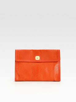 Longchamp - Gatsby Ex Snake Embossed Leather Clutch
