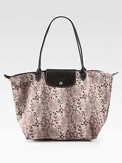 Longchamp - Le Laige Python Print Nylon Shoulder Tote