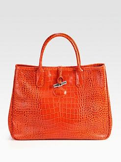 Longchamp - Roseau Crocodile Embossed Leather Tote