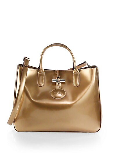 Roseau Metallic Patent Leather Box Tote