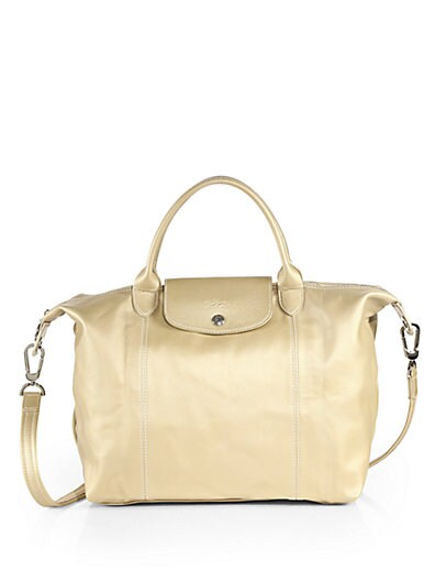 Le Pliage Cuir Metallic Leather Top-Handle Bag