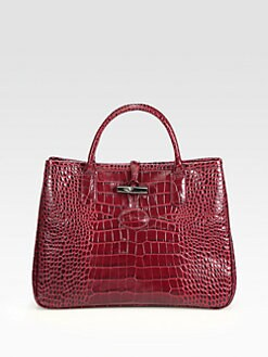Longchamp - Roseau Crocodile Embossed Tote