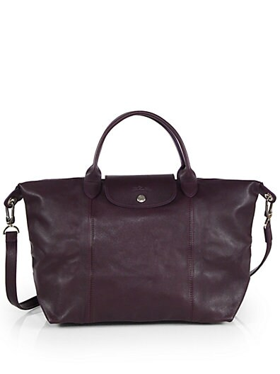 Longchamp Le Pliage Cuir Medium Top Handle Bag Bilberry