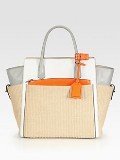 Reed Krakoff - Atlantique Straw & Leather Colorblock Tote
