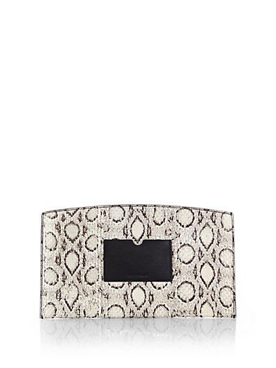 Atlantique Leather-Trimmed Snakeskin Pouch