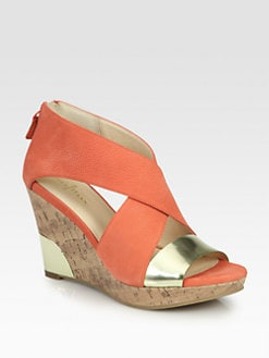 Cole Haan - Irving Leather & Metallic Leather Cork Wedges