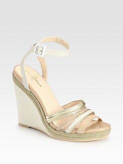 Cole Haan - Nassau Leather & Metallic Leather Ankle Strap Wedges