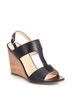 Cole Haan - Adrienne Leather Cork Wedge Sandals