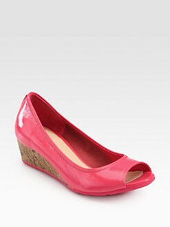 Cole Haan - Air Ali Patent Leather Cork Wedge Sandals