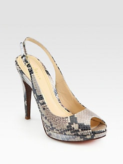 Cole Haan - Chelsea Snake-Embossed Leather Slingback Pumps