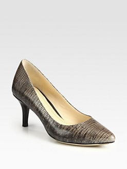Cole Haan - Chelsea Lizard-Embossed Leather Pumps