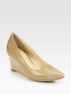 Cole Haan - Chelsea Leather & Patent Wedge Pumps