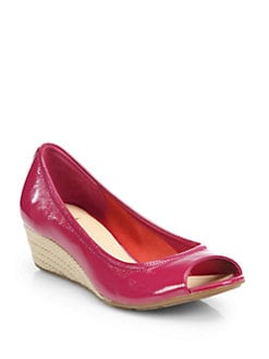 Cole Haan - Air Tali Patent Leather Espadrille Wedge Pumps