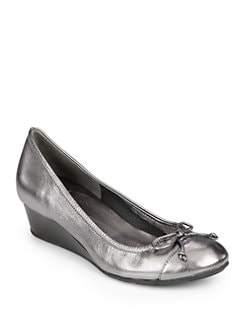 Cole Haan - Tali Air Metallic Leather Bow Wedges