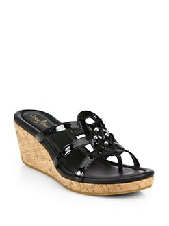 Cole Haan - Shalya Patent Leather & Cork Wedge Sandals