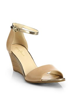 Cole Haan - Rosalin Leather & Metallic Leather Wedge Sandals