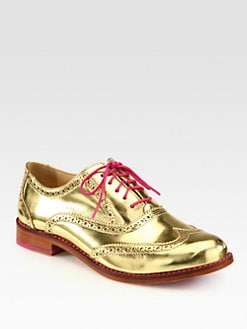 Cole Haan - Skylar Metallic Leather Oxfords