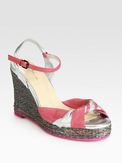 Cole Haan - Cascadia Metallic Leather Wedge Sandals