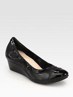 Cole Haan - Milly Leather & Patent Wedge Pumps
