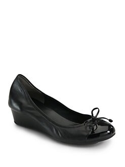 Cole Haan - Air Tali Leather & Patent Leather Wedge Pumps