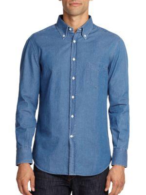 Cotton Chambray Button-Down Shirt