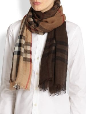 Ombre Giant Check Wool & Silk Scarf