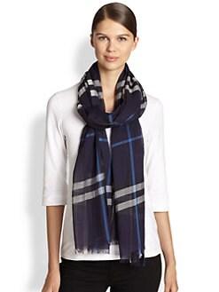 Burberry - Check Silk & Wool Scarf
