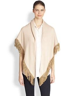 Bajra - Cashmere & Silk Leather Fringe Shawl