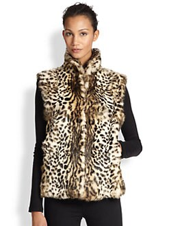 Adrienne Landau - Leopard-Print Rabbit Fur Vest