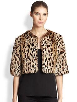 Adrienne Landau - Leopard-Print Cropped Rabbit Fur Jacket