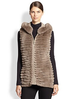 Glamourpuss - Hooded Rabbit Fur Vest
